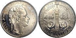 2 Thaler Imperio austríaco (1804-1867) Plata Franz Joseph I (1830 - 1916)