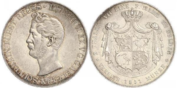 2 Thaler Principado de Reuss (línea mayor) (1778 - 1918) Plata Enrique XX de Reuss-Greiz