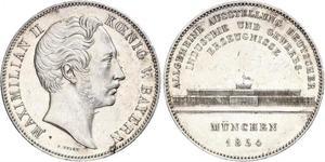 2 Thaler Reino de Baviera (1806 - 1918) Plata Maximiliano II de Baviera(1811 - 1864)