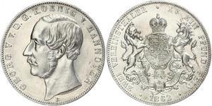 2 Thaler Reino de Hannover (1814 - 1866) Plata Jorge V de Hannover (1819 - 1878)