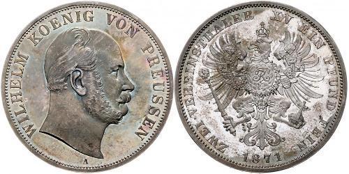 2 Thaler Reino de Prusia (1701-1918) Plata Wilhelm I, German Emperor (1797-1888)