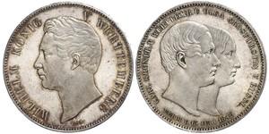 2 Thaler Reino de Wurtemberg (1806-1918) Plata Guillermo I de Wurtemberg
