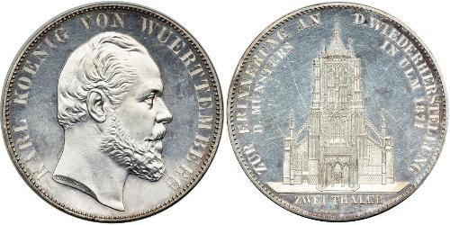 2 Thaler Reino de Wurtemberg (1806-1918) Plata Carlos I de Wurtemberg
