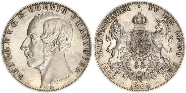 2 Thaler Königreich Hannover (1814 - 1866) Silber Georg V. (Hannover) (1819 - 1878)