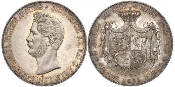 2 Thaler Reuß älterer Linie (1778 - 1918) Silber Heinrich XX. (Reuß-Greiz)