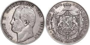 2 Thaler Grand Duchy of Hesse (1806 - 1918) Silver Louis II, Grand Duke of Hesse