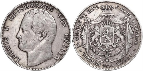 2 Thaler Grand Duchy of Hesse (1806 - 1918) Silver Louis II, Grand Duke of Hesse