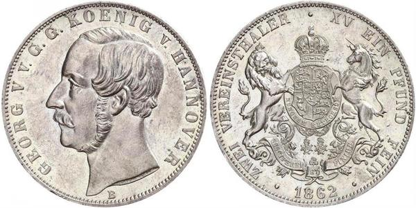2 Thaler Kingdom of Hanover (1814 - 1866) Silver George V of Hanover (1819 - 1878)
