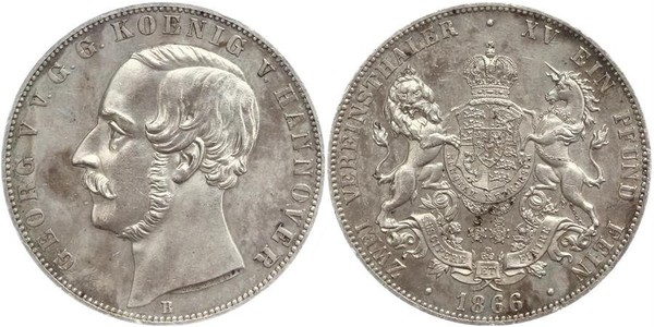 2 Thaler Kingdom of Hanover (1814 - 1866) Silver George V of Hanover (1819 - 1878)