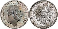 2 Thaler Kingdom of Prussia (1701-1918) Silver Wilhelm I, German Emperor (1797-1888)