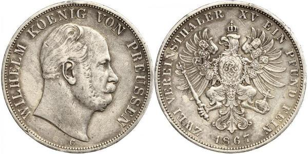 2 Thaler Kingdom of Prussia (1701-1918) Silver Wilhelm I, German Emperor (1797-1888)
