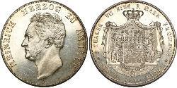 2 Thaler Principality of Anhalt-Köthen (1603 -1853) Silver Henry, Duke of Anhalt-Köthen (1778 –1847)