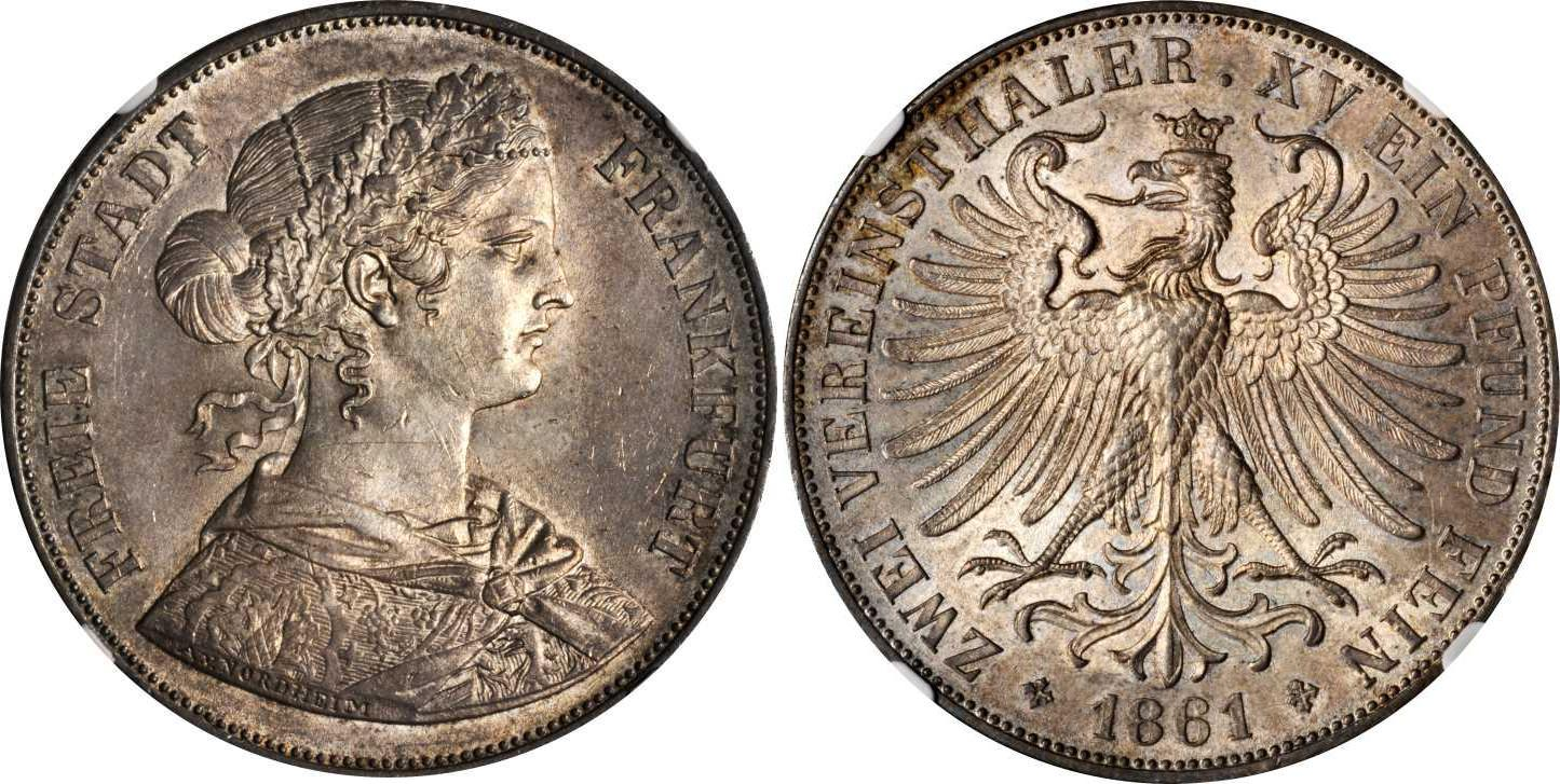 2 thaler 1861 states of germany silver prices values - Coin de finition plinthe ...