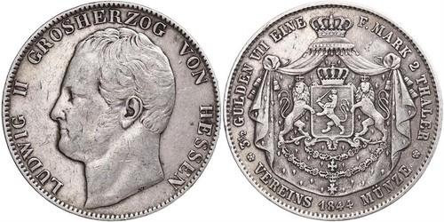 2 Thaler / 3½ Gulden Grand-duché de Hesse (1806 - 1918) Argent Louis II de Hesse
