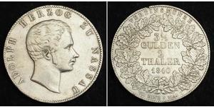 2 Thaler / 3½ Gulden Duchy of Nassau (1806 - 1866) Silver Adolphe, Grand Duke of Luxembourg