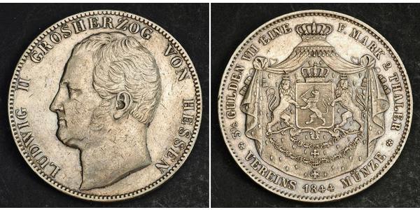 2 Thaler / 3½ Gulden Grand Duchy of Hesse (1806 - 1918) Silver Louis II, Grand Duke of Hesse