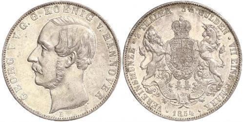 2 Thaler / 3.5 Gulden Royaume de Hanovre (1814 - 1866) Argent Georges V de Hanovre (1819 - 1878)
