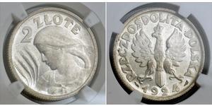 2 Zloty Deuxième République de Pologne (1918 - 1939) Argent