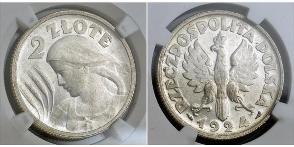 2 Zloty Segunda República Polaca (1918 - 1939) Plata