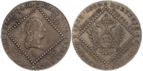 30 Kreuzer Imperio austríaco (1804-1867) Cobre Francis II, Holy Roman Emperor (1768 - 1835)