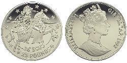 35 Ecu / 25 Pound Gibraltar Silber Elizabeth II (1926-)