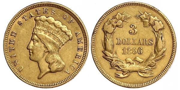 3 Долар США (1776 - ) Золото