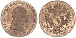 3 Крейцер Габсбургская империя (1526-1804) / Священная Римская империя (962-1806) Медь Francis II, Holy Roman Emperor (1768 - 1835)
