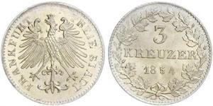 3 Крейцер Вольный город Франкфурт Серебро