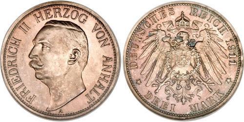 3 Марка Ангальт-Дессау (1603 -1863) Серебро Фридрих II, герцог Ангальта(1856 – 1918)