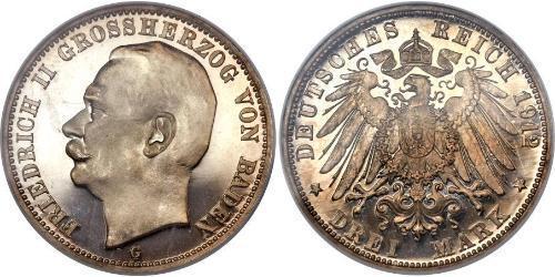 3 Марка Великое герцогство Баден (1806-1918) Серебро Frederick II, Grand Duke of Baden (1857 - 1928)