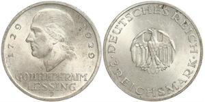 3 Марка Германская империя (1871-1918) Серебро Лессинг, Готхольд Эфраим