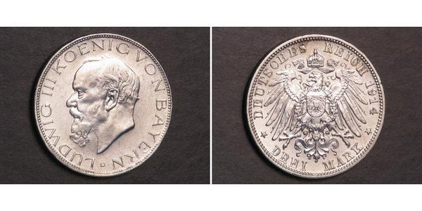 3 Марка Королевство Бавария (1806 - 1918) Серебро Людвиг III (король Баварии) (1845 – 1921)