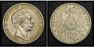3 Марка Пруссия (королевство) (1701-1918) Серебро Wilhelm II, German Emperor (1859-1941)