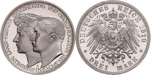 3 Марка Саксен-Веймар-Эйзенах (1809 - 1918) Серебро Вильгельм Эрнст Саксен-Веймар-Эйзенахский