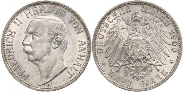 3 Марка Ангальт-Дессау (1603 -1863) Срібло Friedrich II, Duke of Anhalt (1856 – 1918)