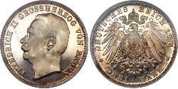 3 Марка Велике герцогство Баден (1806-1918) Срібло Frederick II, Grand Duke of Baden (1857 - 1928)
