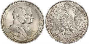 3 Марка Герцогство Саксен-Веймар-Ейзенахське (1809 - 1918) Срібло William Ernest, Grand Duke of Saxe-Weimar-Eisenach