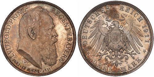 3 Марка Королівство Баварія (1806 - 1918) Срібло Otto of Bavaria (1848 – 1916)
