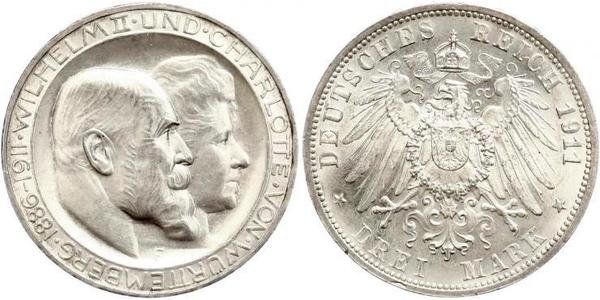 3 Марка Королівство Вюртемберг Срібло Wilhelm II, German Emperor (1859-1941)