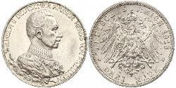 3 Марка Королівство Пруссія (1701-1918) Срібло Wilhelm II, German Emperor (1859-1941)