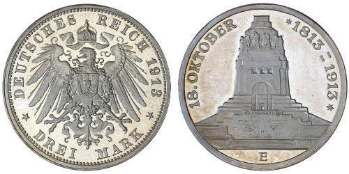 3 Марка Королівство Саксонія (1806 - 1918) Срібло