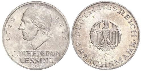 3 Марка Німецька імперія (1871-1918) Срібло Готгольд Ефраїм Лессінг