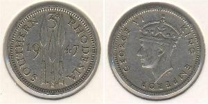 3 Пенни Южная Родезия (1923-1980) Никель/Медь Георг VI (1895-1952)