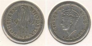 3 Пені Південна Родезія (1923-1980) Нікель/Мідь Георг VI (1895-1952)
