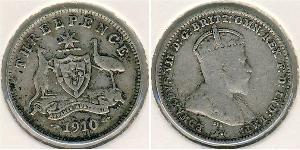 3 Пені Австралія (1788 - 1939) Срібло Едвард VII (1841-1910)