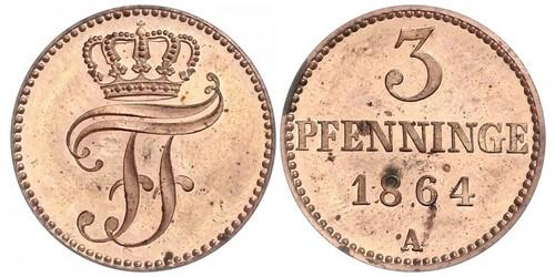 3 Пфенниг Duchy of Mecklenburg-Schwerin (1352-1918) Медь Фридрих Франц II (великий герцог Мекленбург-Шверина)