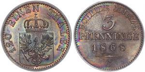 3 Пфеніг Королівство Пруссія (1701-1918) Мідь