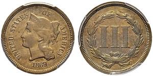 3 Цент США (1776 - ) Срібло