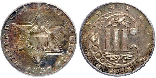 3 Cent Estados Unidos de América (1776 - ) Cobre/Plata