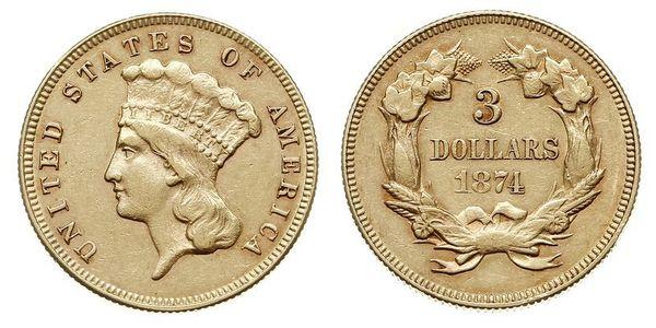 3 Dólar Estados Unidos de América (1776 - ) Oro